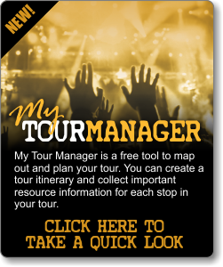 My Tour Manager - My Tour Manager is a free tool to map out and plan your tour. You can create a tour itinerary and collect important resource information for each stop in your tour. Click Here To Take a Quick Look.